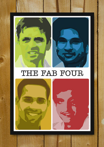 Glass Framed Posters, Sachin Saurav Laxman Dravid Fab Four Glass Framed Poster, - PosterGully - 1