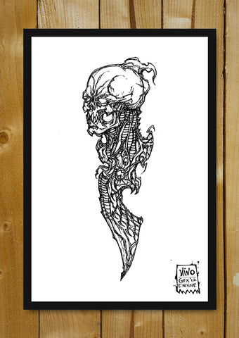 Glass Framed Posters, Sacrifical Dagger Line Art Glass Framed Poster, - PosterGully - 1