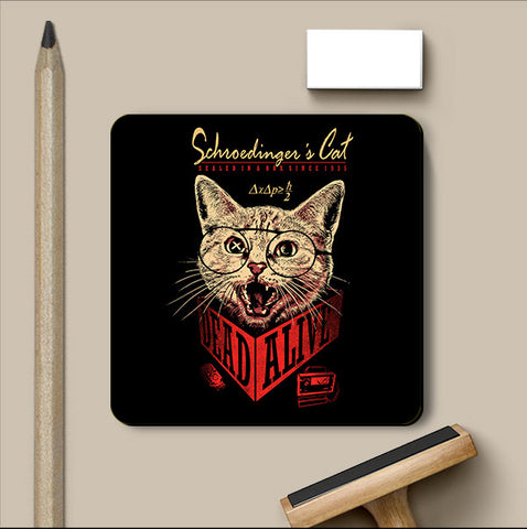 PosterGully Coasters, Schrondingers Cat Coaster | By Captain Kyso, - PosterGully