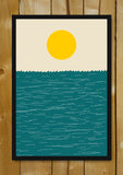 Glass Framed Posters, Sea And Sun Minimal Art Glass Framed Poster, - PosterGully - 1