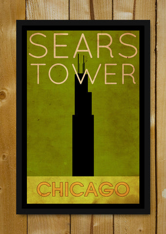 Glass Framed Posters, Sears Tower Chicago Glass Framed Poster, - PosterGully - 1