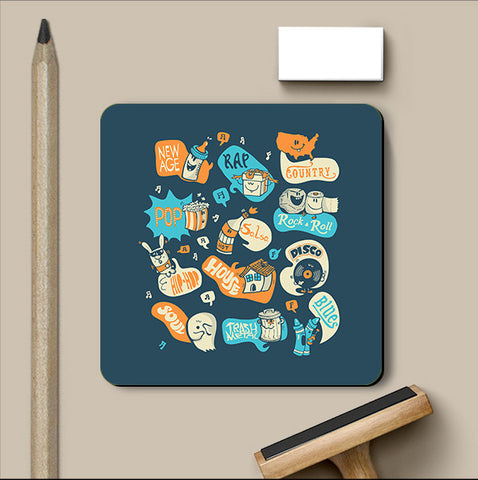 PosterGully Coasters, Seeing Music Everywhere - Dark Blue Coaster | By Captain Kyso, - PosterGully