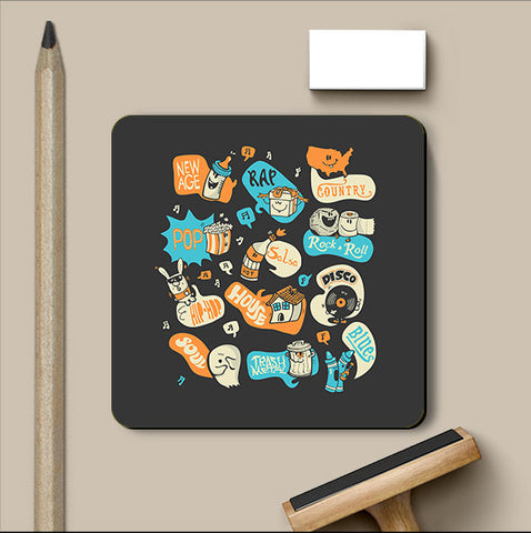 PosterGully Coasters, Seeing Music Everywhere Coaster | By Captain Kyso, - PosterGully