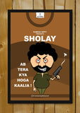 Glass Framed Posters, Sholay Cartoon Art | Glass Framed Poster, - PosterGully - 1