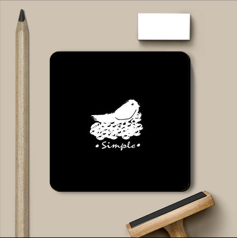 PosterGully Coasters, Simple Black Coaster | Artist: Prashant Negi, - PosterGully