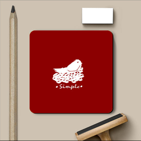 PosterGully Coasters, Simple Red Coaster | Artist: Prashant Negi, - PosterGully