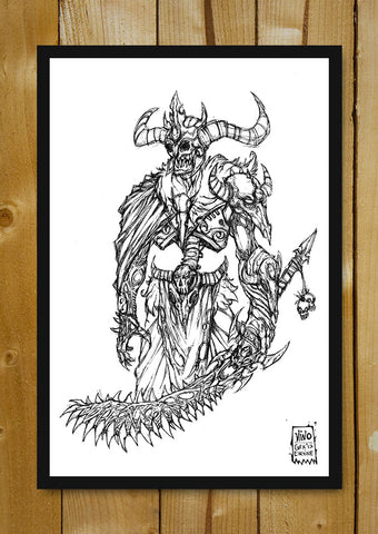 Glass Framed Posters, Skeleton King Line Art Glass Framed Poster, - PosterGully - 1