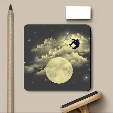 PosterGully Coasters, Sky Is The Limit - Blue Coaster | By Captain Kyso, - PosterGully