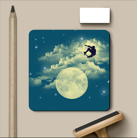 PosterGully Coasters, Sky Is The Limit - Light Blue Coaster | By Captain Kyso, - PosterGully