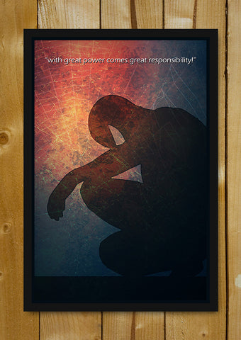 Glass Framed Posters, Spiderman Great Power Glass Framed Poster, - PosterGully - 1