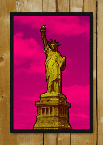 Glass Framed Posters, Statue Of Liberty Pop Art Glass Framed Poster, - PosterGully - 1