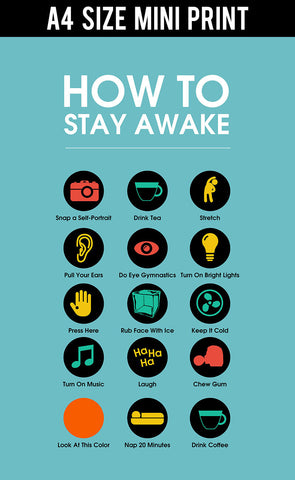 Mini Prints, Stay Awake Manifesto | Blue | Mini Print, - PosterGully