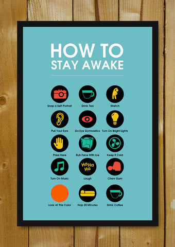 Glass Framed Posters, Stay Awake Manifesto Blue Glass Framed Poster, - PosterGully - 1