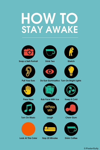 Wall Art, Stay Awake Manifesto | Blue, - PosterGully
