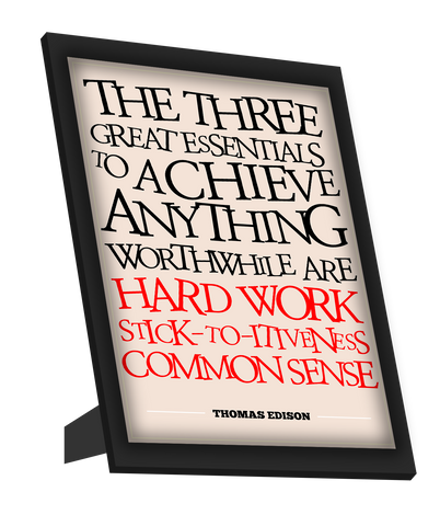 Framed Art, Success Thomas Edison Motivational Framed Art, - PosterGully
