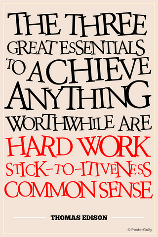 Wall Art, Success Thomas Edison Motivational, - PosterGully