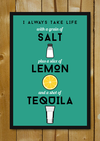 Glass Framed Posters, Tequila Life Humour Glass Framed Poster, - PosterGully - 1