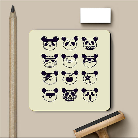 PosterGully Coasters, The Most Disguised Panda - Cream Coaster | By Captain Kyso, - PosterGully