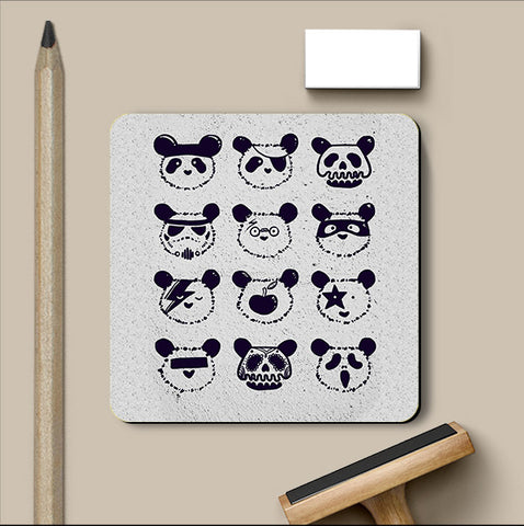 PosterGully Coasters, The Most Disguised Panda - White Coaster | By Captain Kyso, - PosterGully