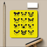 PosterGully Coasters, The Most Disguised Panda - Yellow Coaster | By Captain Kyso, - PosterGully