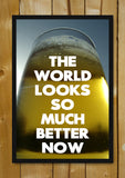 Glass Framed Posters, The World Is Better Beer Humour Glass Framed Poster, - PosterGully - 1