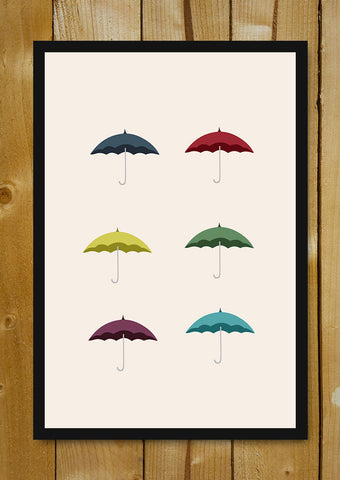 Glass Framed Posters, Umbrella Minimal Art Glass Framed Poster, - PosterGully - 1