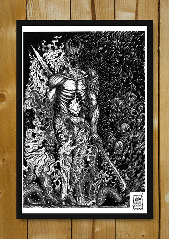 Glass Framed Posters, Undead King Line Art Glass Framed Poster, - PosterGully - 1