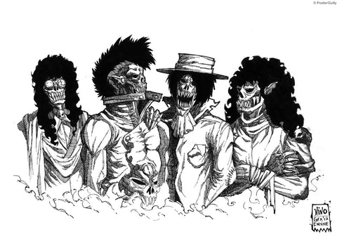 Wall Art, Undead Rock Band Line Art, - PosterGully