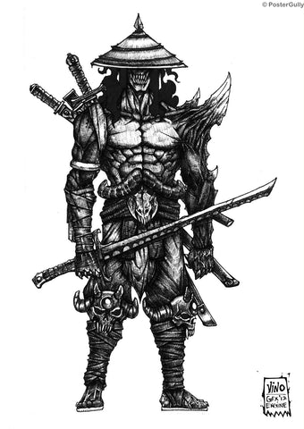 Wall Art, Undead Samurai Line Art, - PosterGully