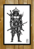 Glass Framed Posters, Undead Samurai Line Art Glass Framed Poster, - PosterGully - 1