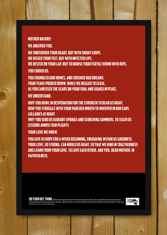 Glass Framed Posters, Uttarakhand Relief Poem Poster Glass Framed Poster, - PosterGully - 1