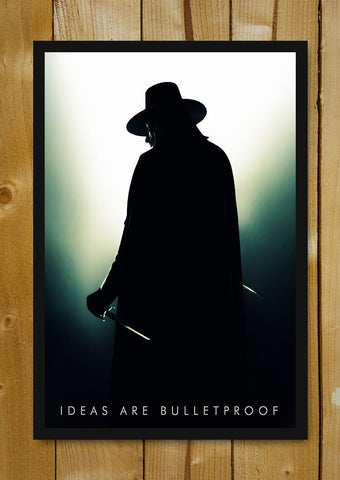 Glass Framed Posters, V For Vendetta Guy Fawkes Shadow Glass Framed Poster, - PosterGully - 1