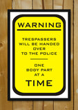 Glass Framed Posters, Warning No Tresspassing Glass Framed Poster, - PosterGully - 1