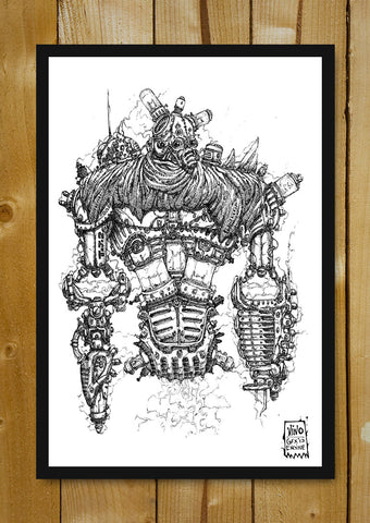 Glass Framed Posters, Wasteland Robot Line Art Glass Framed Poster, - PosterGully - 1