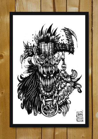 Glass Framed Posters, Witch Doctor Line Art Glass Framed Poster, - PosterGully - 1