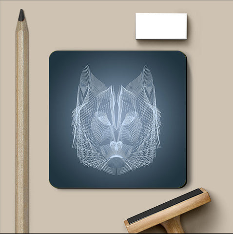 PosterGully Coasters, Wolf Symmetric Line Coaster | Artist: Rohit Malhotra, - PosterGully