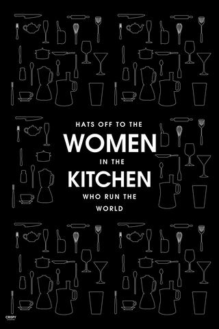 Wall Art, Women In Kitchen Black, - PosterGully
