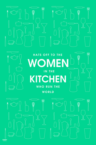 Wall Art, Women In Kitchen Green, - PosterGully