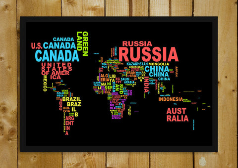 Glass Framed Posters, World Map Informative Glass Framed Poster, - PosterGully - 1