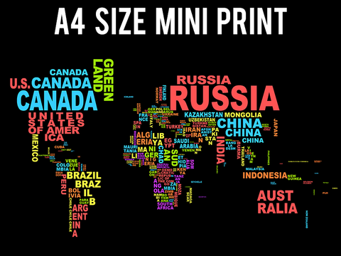 Mini Prints, World Map | Informative | Mini Print, - PosterGully