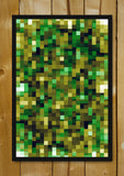 Glass Framed Posters, Yellow And Green Mosaic Glass Framed Poster, - PosterGully - 1