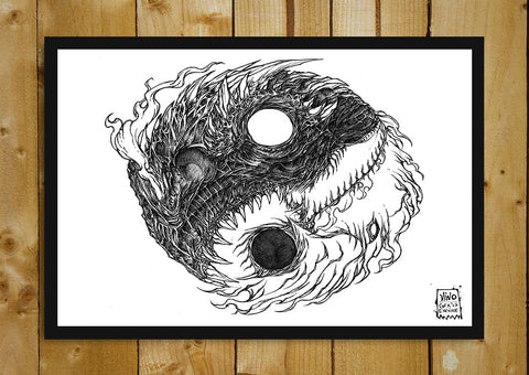Glass Framed Posters, Ying Yang Line Art Glass Framed Poster, - PosterGully - 1