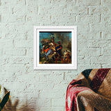 The Abduction of Rebecca by Eugène Delacroix Premium Square Italian Wooden Frames | Artist : Aditya Gupta