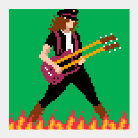 Led Zeppelin Jimmy Page Pixel Art Square Art Prints | Artist : 8bitbaba