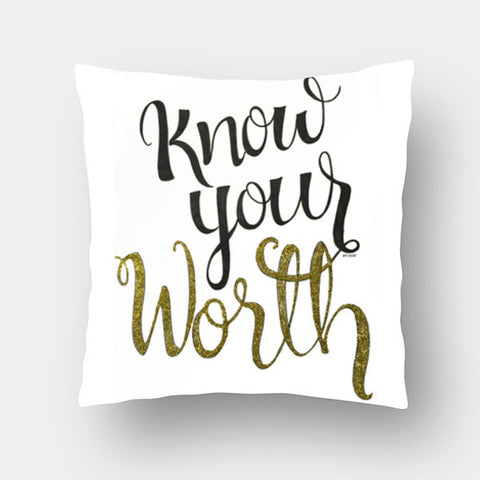 Cushion Covers, know your worth  Cushion Covers | Artist : Vanya Verma, - PosterGully