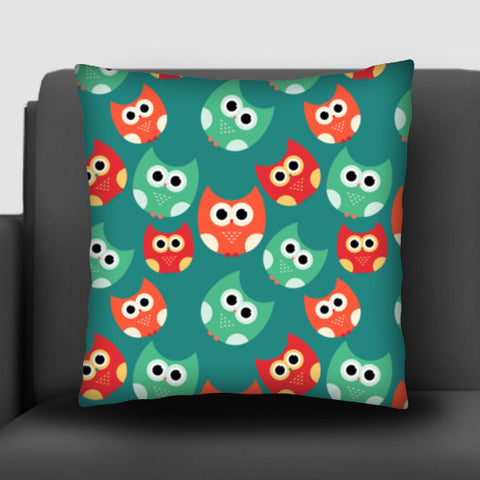 Owl illustrations pattern on green background Cushion Covers | Artist : Designerchennai