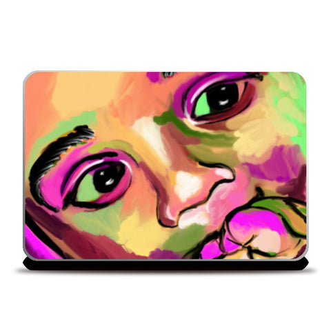 INNOCENCE #baby #kids #colorful #portrait #people #painting #sketches # Laptop Skins | Artist : Jessica Maria