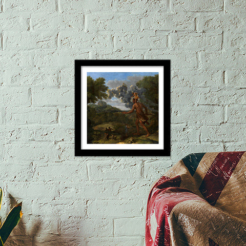 Blind Orion Searching for the Rising Sun by Nicolas Poussin Premium Square Italian Wooden Frames | Artist : Aditya Gupta