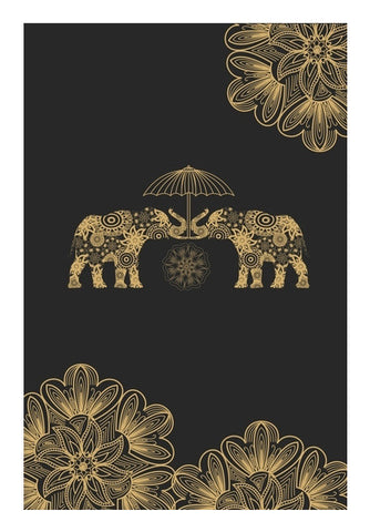 Gold Elephant Wall Art | Artist : Tiny Dots