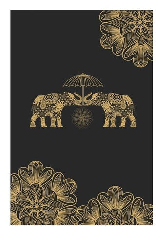 PosterGully Specials, Gold Elephant Wall Art | Artist : Tiny Dots, - PosterGully
